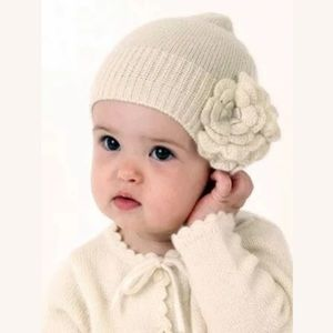 Baby CZ White Cotton Hat with Flower 6-12 months